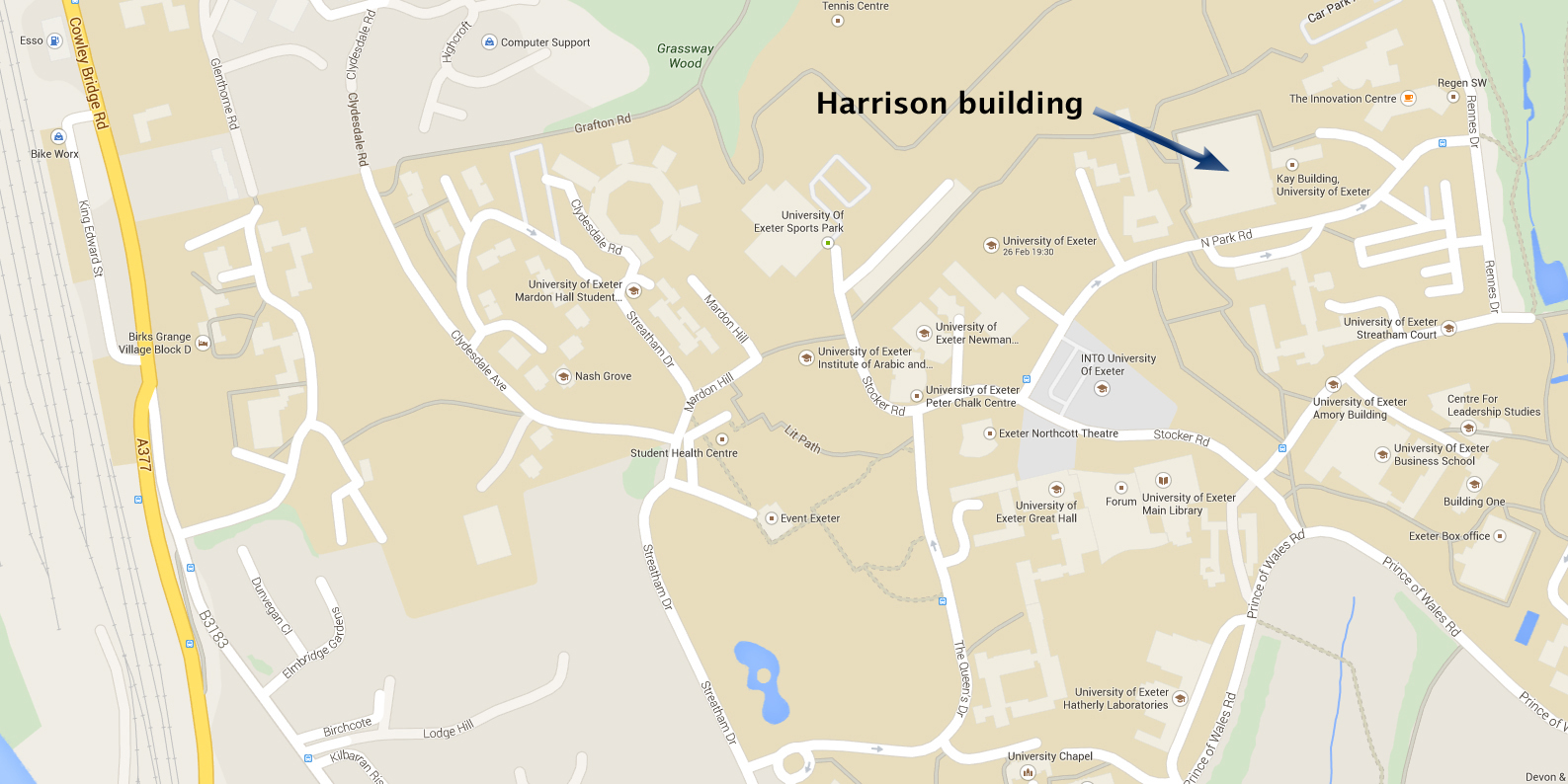 Map to Exeter University